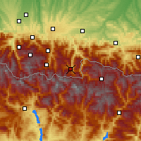 Nearby Forecast Locations - Bagnères-de-Luchon - Carta